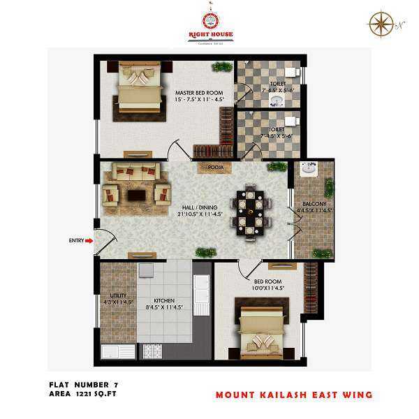 2 BHK Apartments In Coimbatore Floor Plan